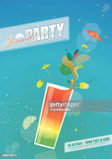 Summer party poster with coctail glass
