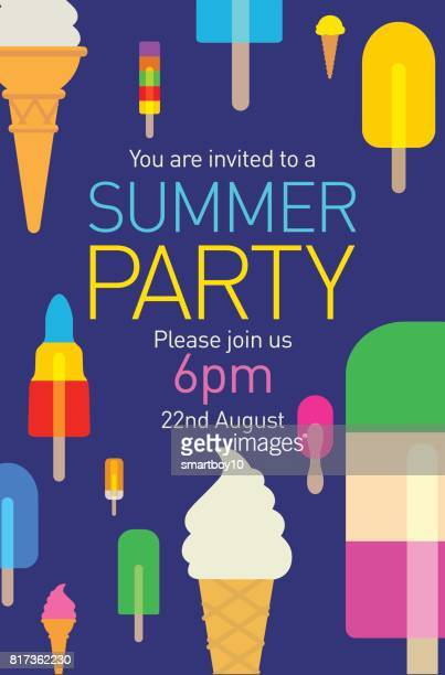 summer party poster with popsicles and ice cream - flavored ice stock illustrations, clip art, cartoons, & icons