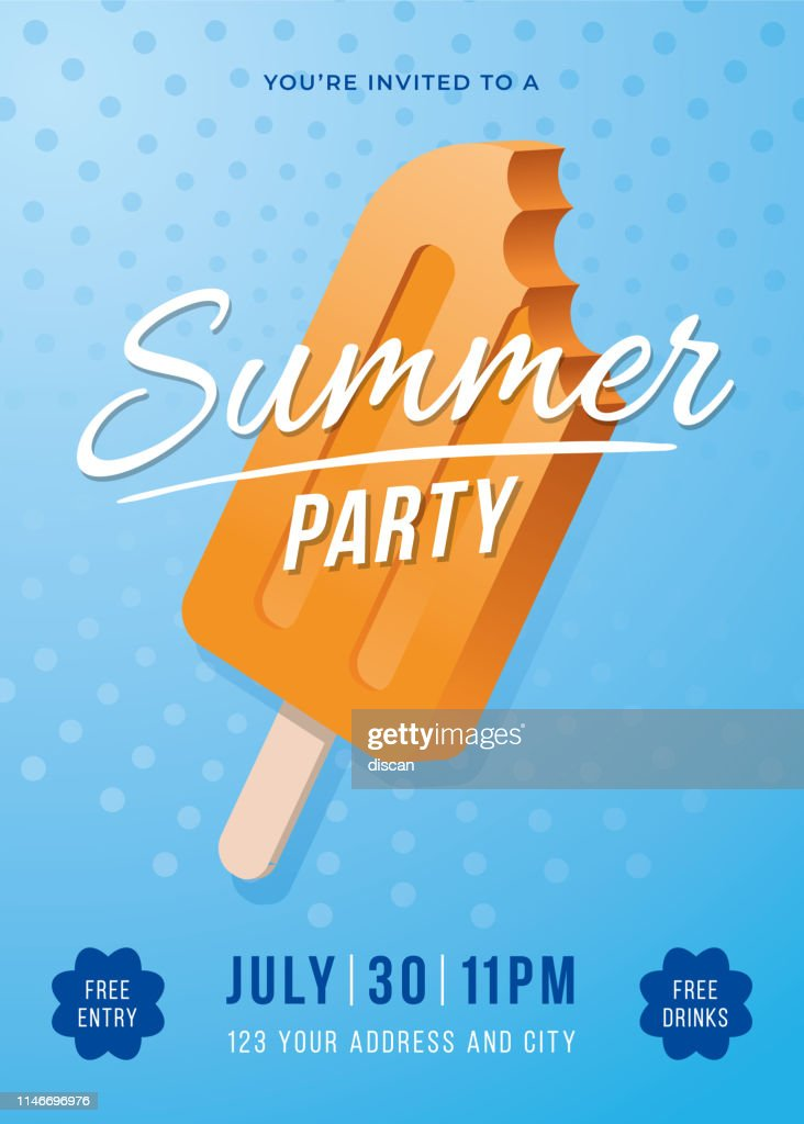 Summer Party Poster with Popsicles. : stock illustration