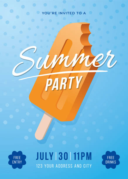 summer party poster with popsicles. - ice cream stock illustrations