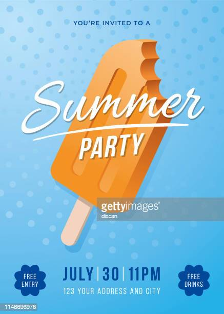 summer party poster with popsicles. - party social event stock illustrations, clip art, cartoons, & icons