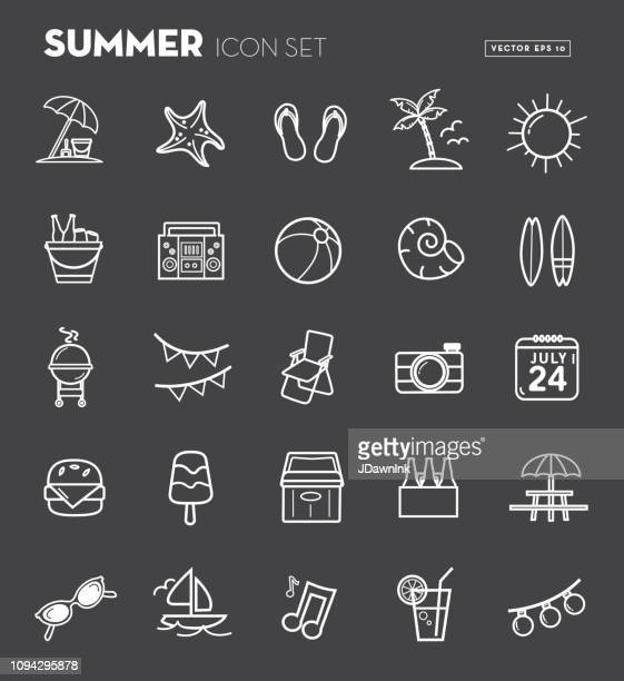 summer party season flat simple outline design icon set - ice bucket stock illustrations, clip art, cartoons, & icons