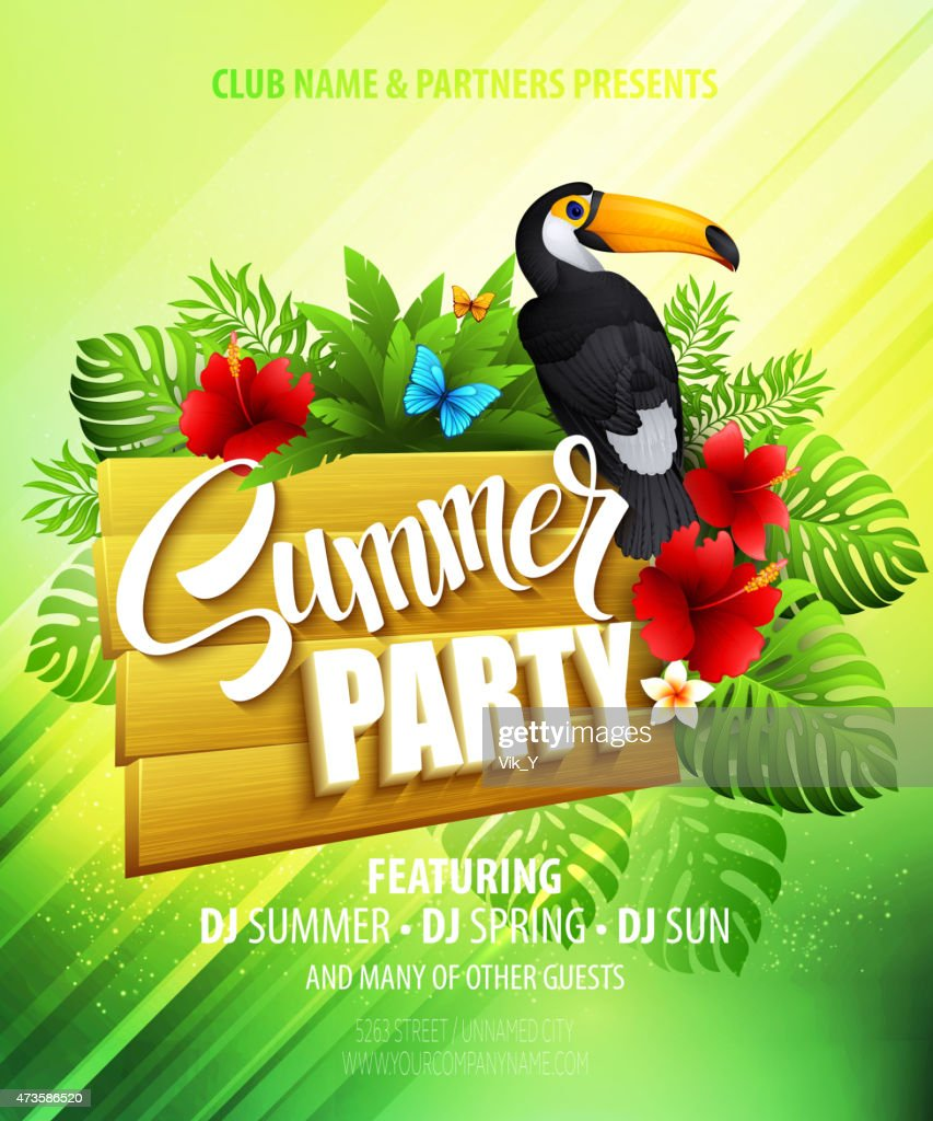 Summer party template poster with toucan and exotic plants