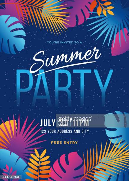 summer party - tropical background with palm leaves and exotic plants. - summer stock illustrations