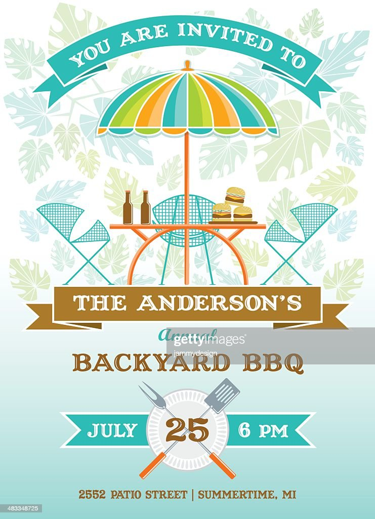 Summer Patio Party BBQ Invitation