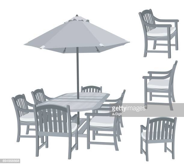 ilustrações, clipart, desenhos animados e ícones de jogo do pátio de verão - mesa mobília