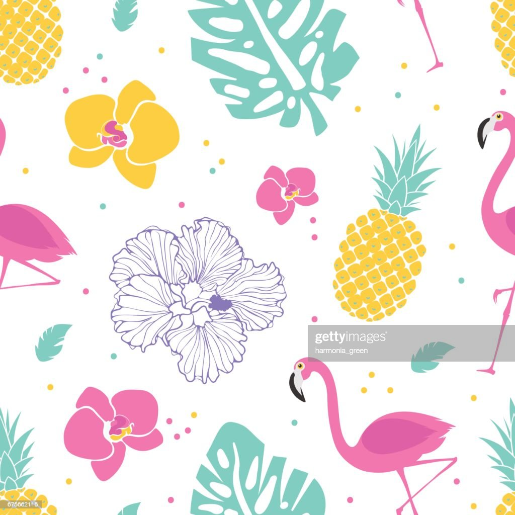 summer pattern with flamingos and pineapple