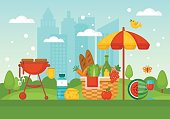 Summer picnic and barbecue concept with basket, food and fruits over park background. Vector illustration