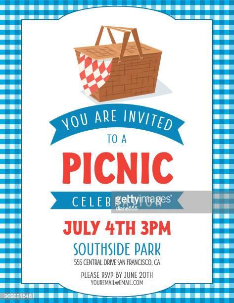 summer picnic invitation template - picnic basket stock illustrations