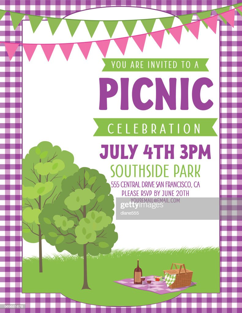 Summer Picnic Invitation Template Stock Vector Getty Images