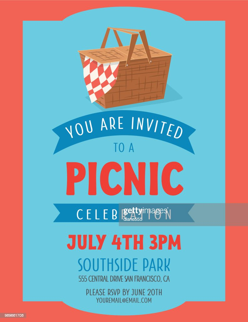 summer picnic invitation template vector art getty images
