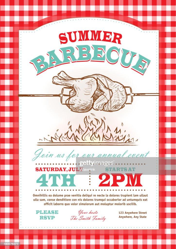 summer picnic rostisserie chicken picnic invitation design template