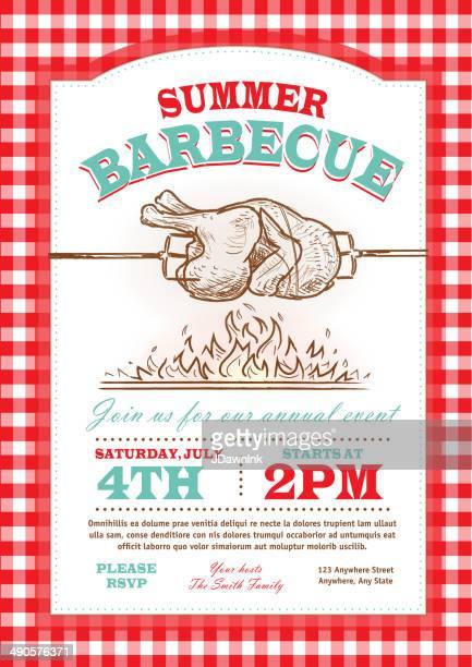 summer picnic rostisserie chicken picnic invitation design template - tablecloth stock illustrations, clip art, cartoons, & icons