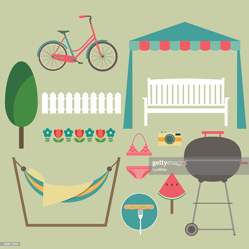 Summer picnic. Vector flat illustrations and set of element
