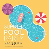Summer pool party invitation. Flyer or banner template. Flat design elements, minimalist style. Vector illustration.
