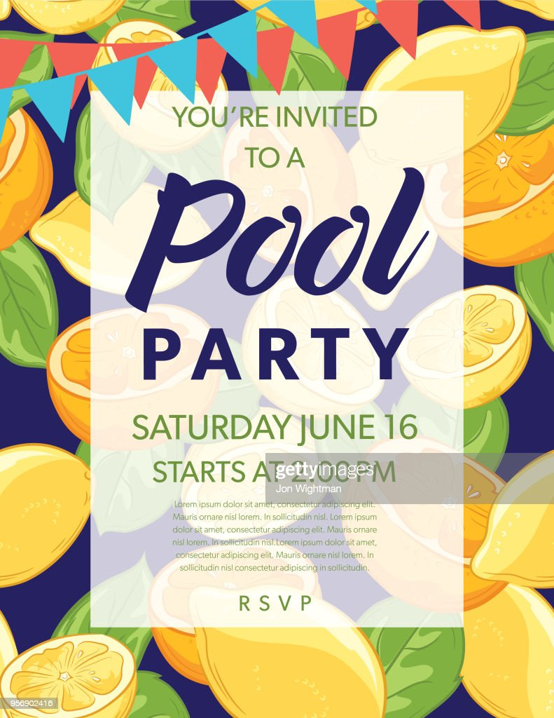 summer pool party invitation template with lemons and oranges vector