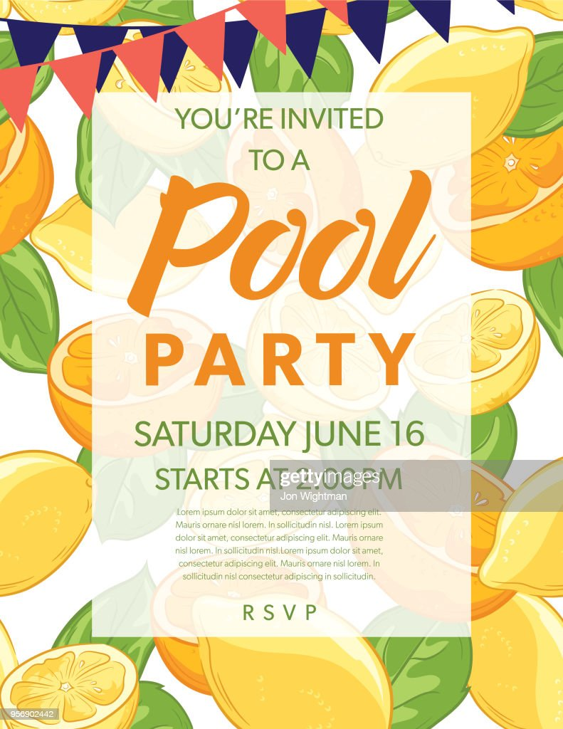 Summer Pool Party Invitation Template With Lemons And Oranges Vector ...