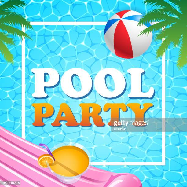 illustrations, cliparts, dessins animés et icônes de été fête au bord de la piscine - matelas pneumatique