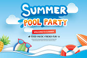 Summer pool party with paper cut symbol and icon for invitation background. Art and craft style. Use for ads, banner, poster, card, cover, stickers, badges, illustration design.