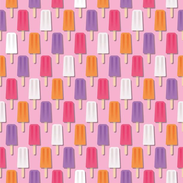 summer popsicle seamless pattern - ice cream stock illustrations