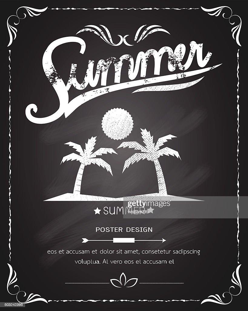 Summer poster blackboard design