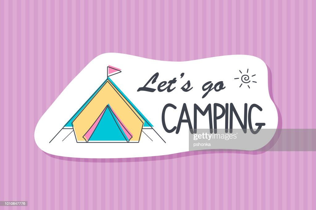 Summer poster card. Lets go camping