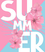 Summer poster with flowers and contrast colored background. Vector illustration