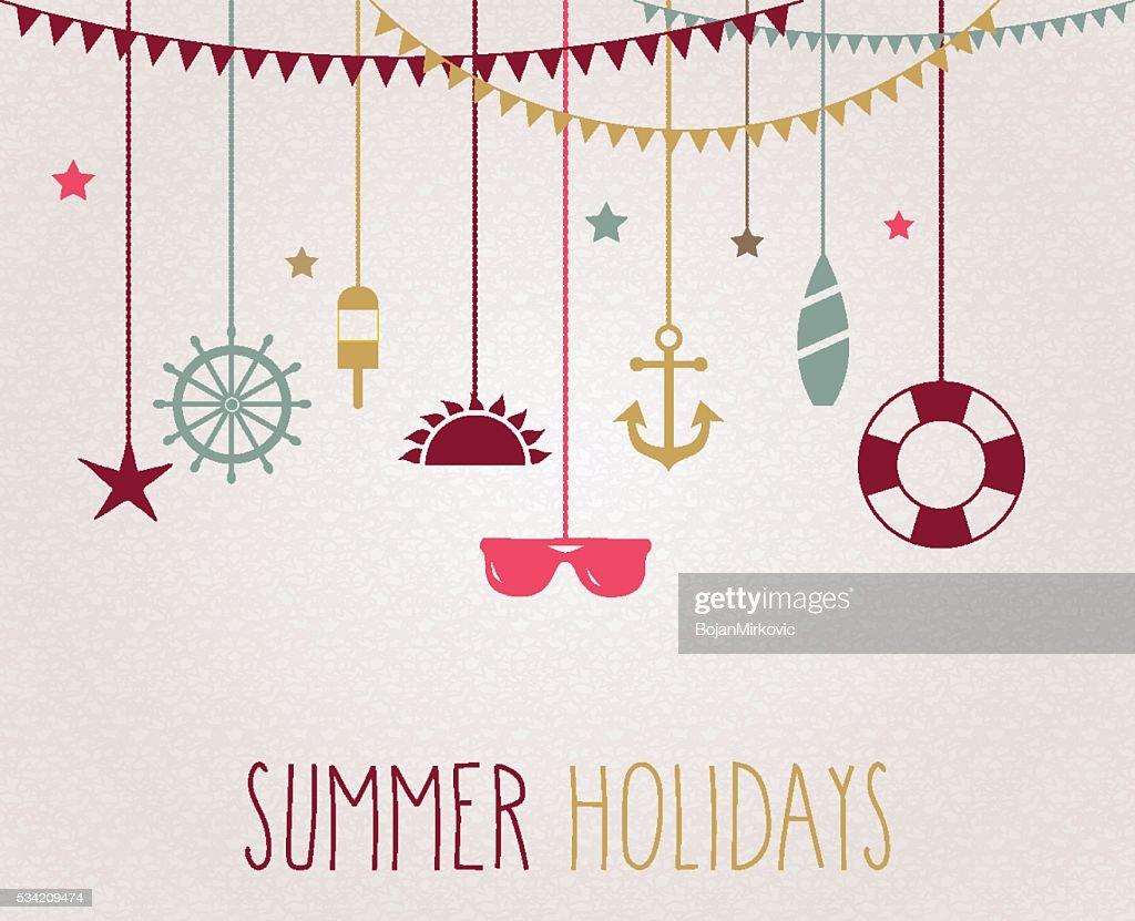 Summer poster with hanging beach elements. Handwritten tex