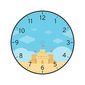 Summer Printable Clock Face Template with Sand Castle