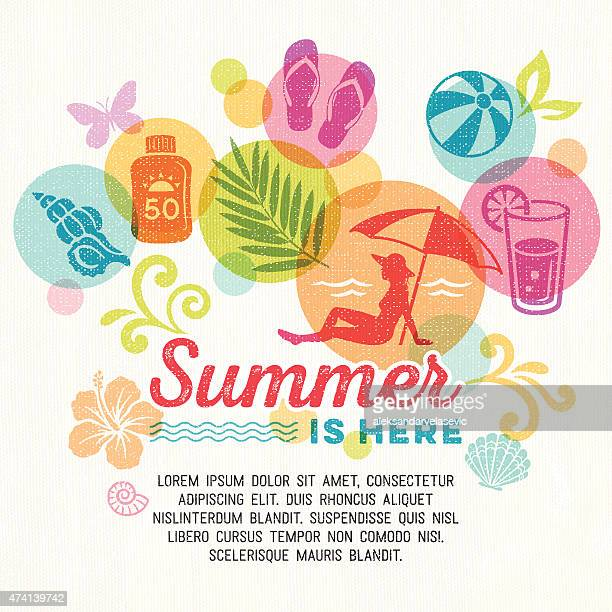 summer promo background - beach holiday stock illustrations, clip art, cartoons, & icons