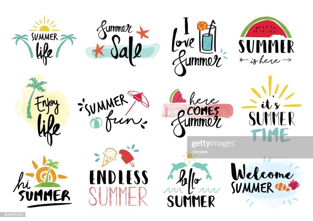 Sommer Angebot Legen Sie Typografie Handgezeichnete Dekoration