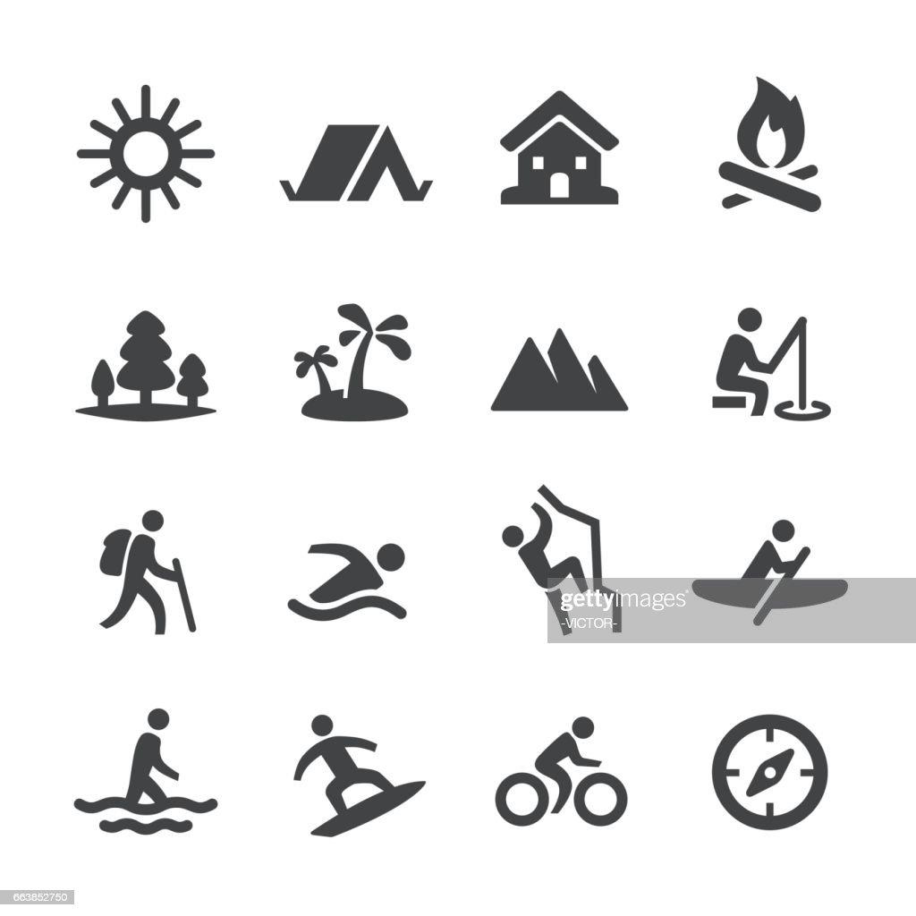 Iconos de recreación de verano - serie Acme : Ilustración de stock