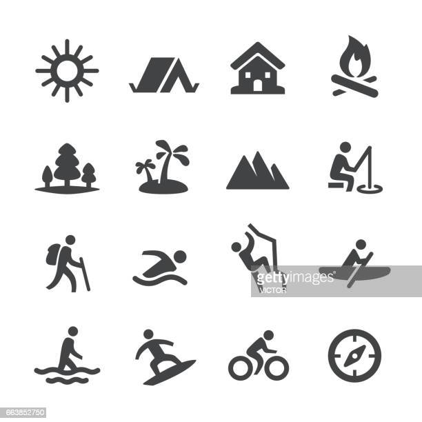 summer recreation icons - acme series - leisure activity stock illustrations