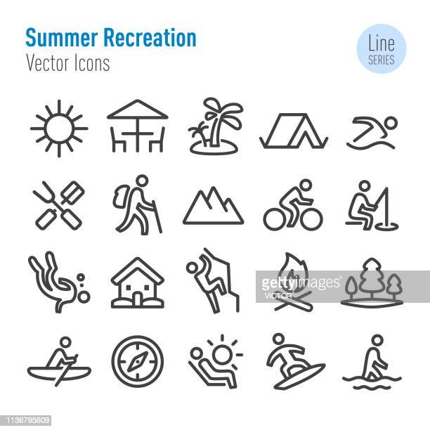 summer recreation icons - vector line series - escaping stock illustrations