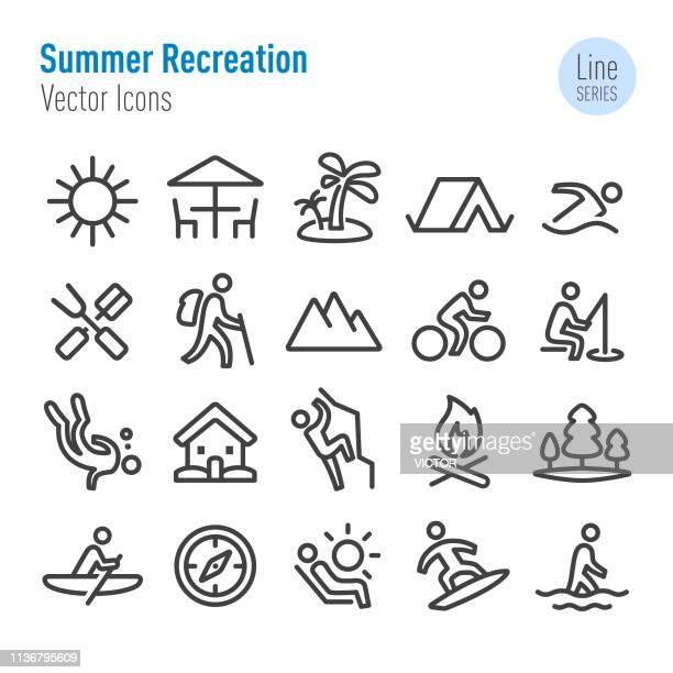 illustrations, cliparts, dessins animés et icônes de graphismes de loisirs d'été-vector line series - vtt