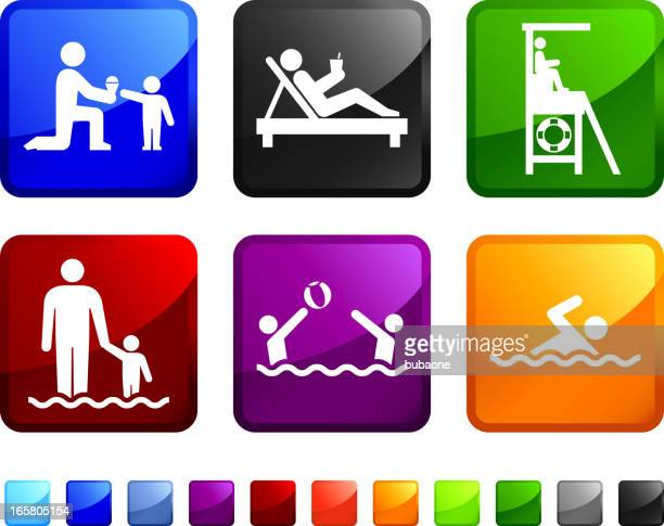 Summer Relaxation and Beach Activities vector icon set stickers