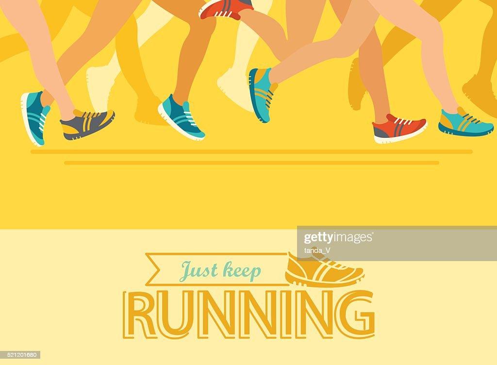 Summer running marathon concept.