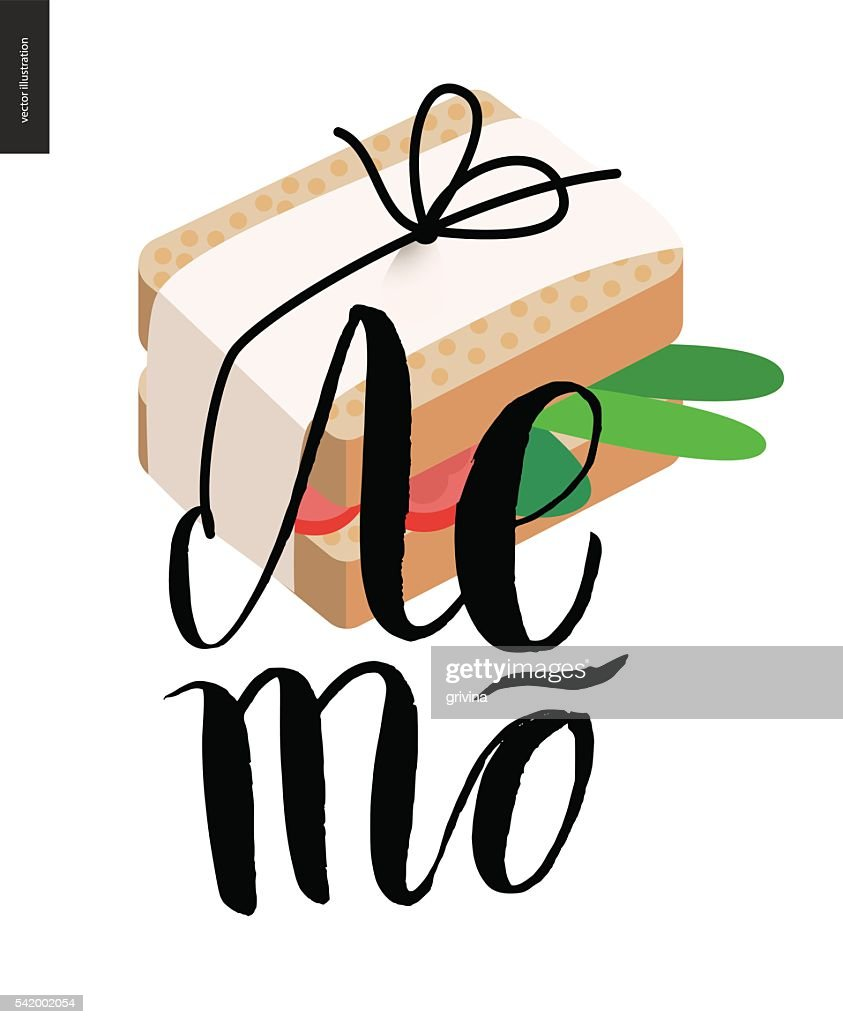 Summer, russian lettering and a sandwich