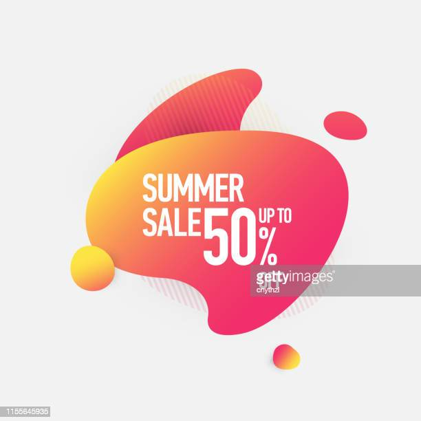 summer sale 50% off fluid liquid style abstract banner design - design element stock illustrations