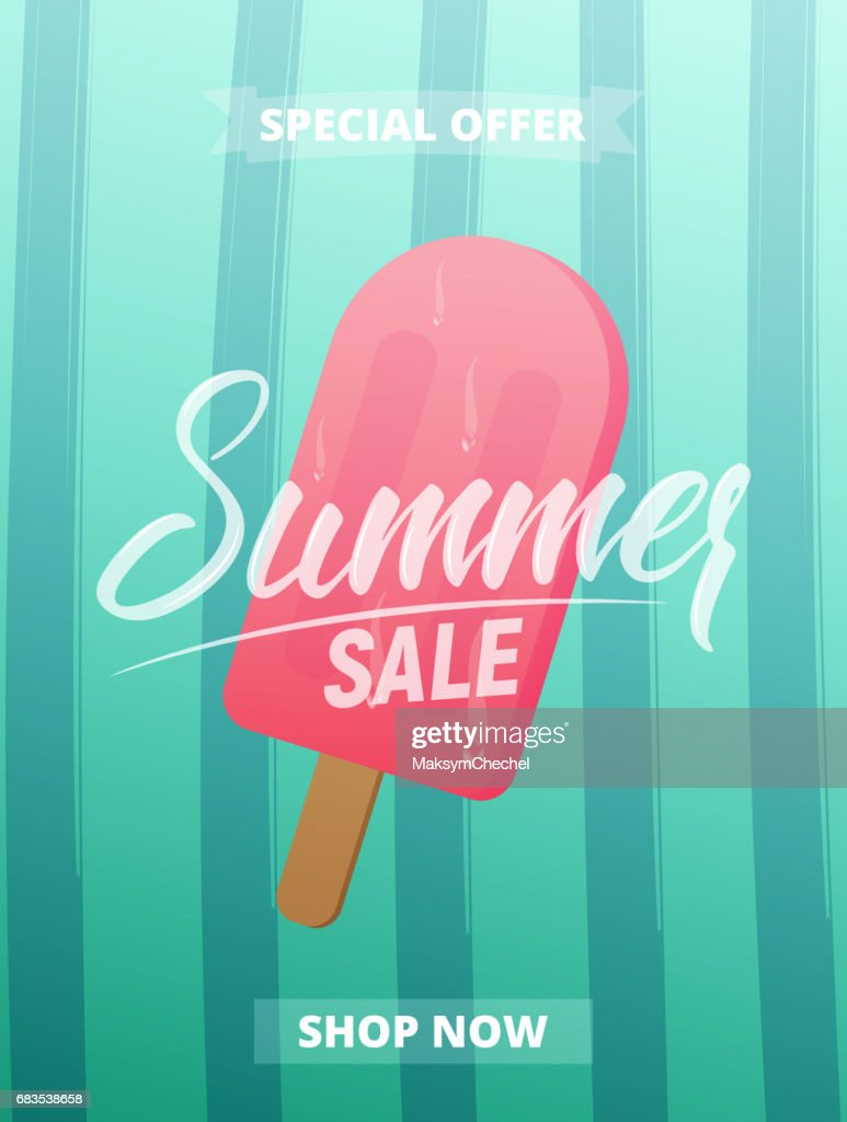 Summer sale advertisement, banner, card, poster etc. Background with lettering, trendy stripes and ice cream