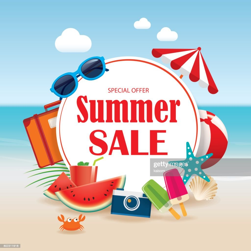 Summer sale background banner design template with colorful beach and object vacation elements.