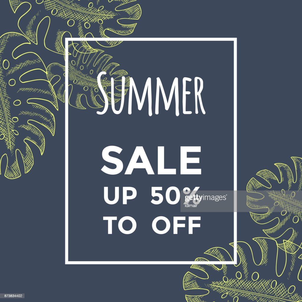 Summer sale background with hand drawn monstera leaves on dark. Lettering, sketch. Special offer, up to 50 off. Banner flyer invitation posters brochure. Advertising. Vector