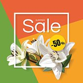 Summer Sale Banner on Colorful Background. Designs with White Flowers.