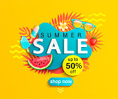 Summer Sale banner on yellow background.