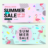 Summer sale banner retro style with flamingo and geometric shapes. Sale background template pink and blue color create by vector.