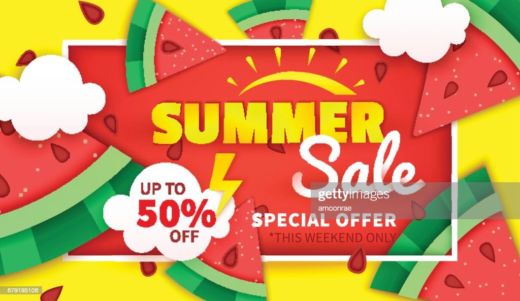 Summer sale banner. Special offer up to 50% off