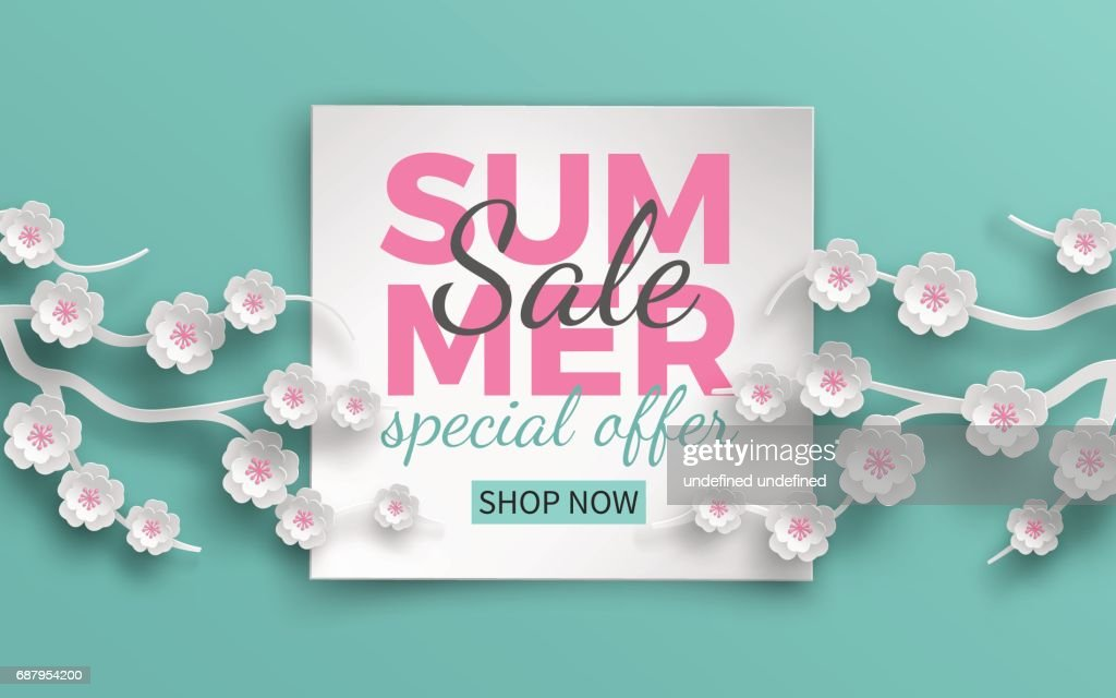 Summer sale banner template with paper cut frame and blooming pink cherry flowers on green floral background for banner, flyer, invitation, poster or web site