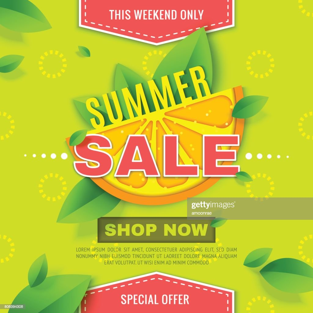 Summer Sale banner with orange slice and mint