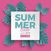 Summer sale banner with paper cut frame and tropical plants on green background, floral design for banner, flyer, invitation, poster, web site or greeting card. Paper cut style
