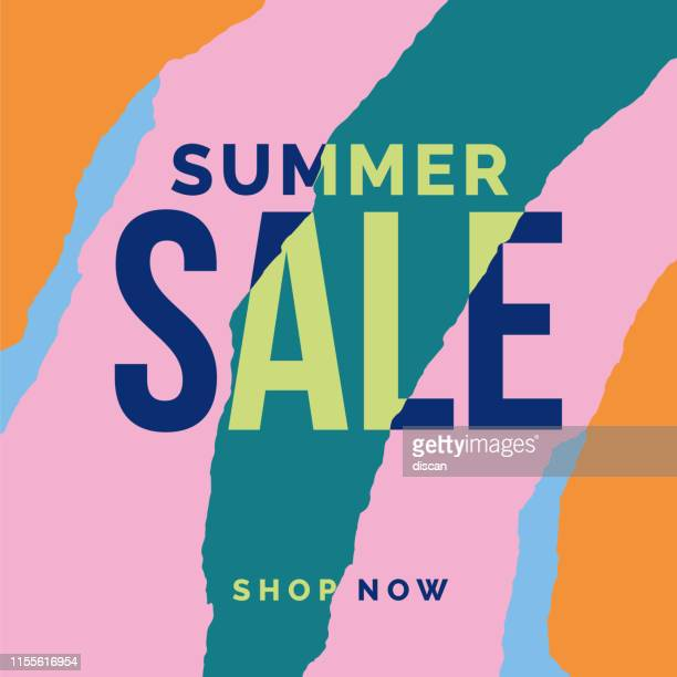 summer sale banner with ripped papers. - torn stock illustrations